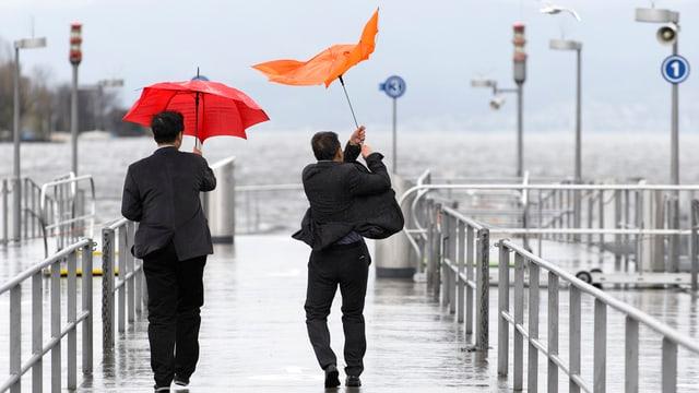 Einem Mann windets den Schirm weg.