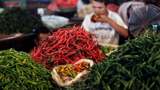 Haufen von grünem und rotem Chili auf einem Markt in Jakarta.