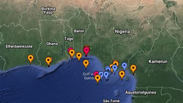 Karte von der westafrikanischen Küste
