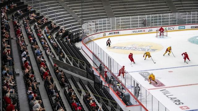 Coronabedingtes leeres Eishockey-Stadion.