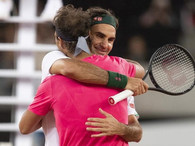 Roger Federer und Rafael Nadal beim «Match in Africa» 2020.
