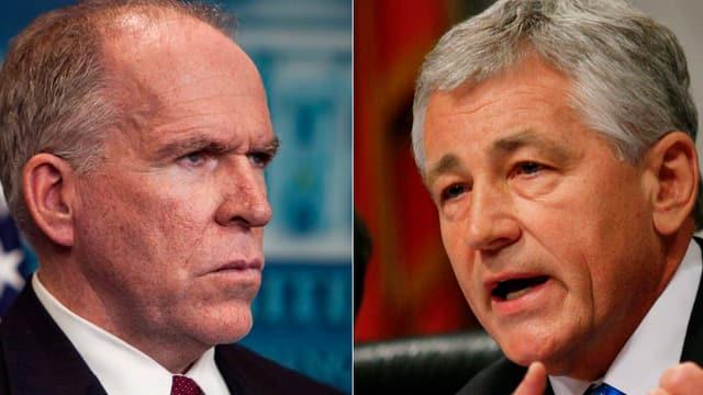 Portrait von Chuck Hagel (rechts) und John Brennan.