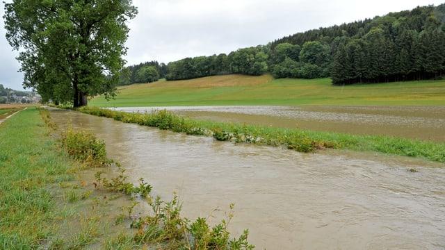 In der Nähe von Seewen/SO trat ein Bach über sein Ufer.
