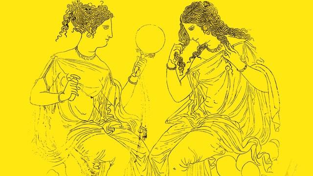 Detail aus einer Spiegeldose aus Bronze aus dem 4. Jahrhundert vor Christus.