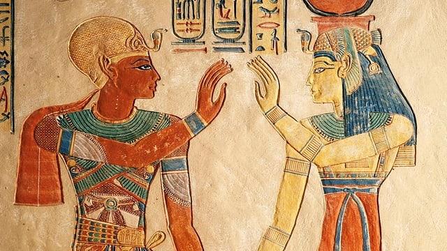 Relief mit zwei ägyptischen Figuren.