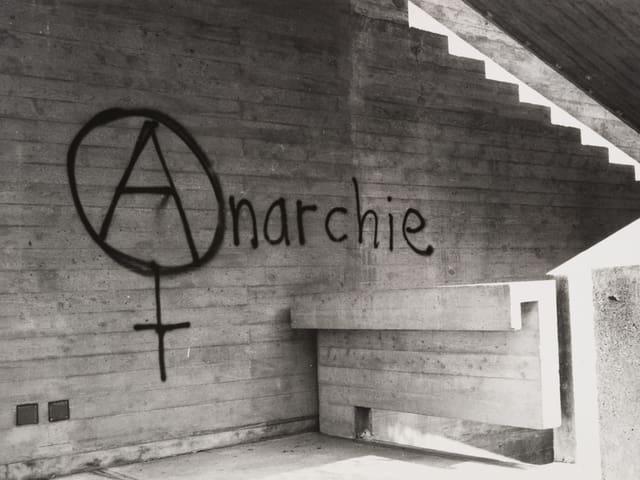 An der Wand steht: «Anarchie»