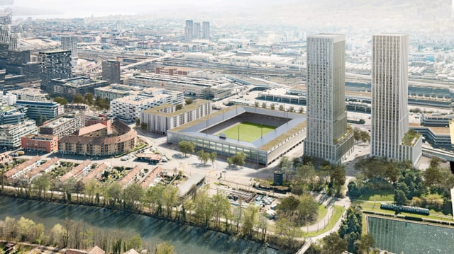 Das Foto zeigt das geplante Stadion mit den beiden Türmen.