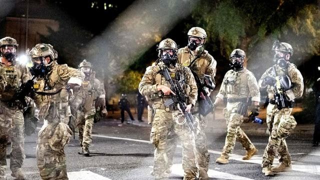 Bundespolizisten im Einsatz an einer Black Live Matters-Demonstration diese Woche.