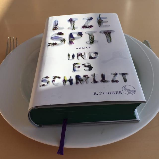 Der Roman «Und es schmilzt» von Lize Spit liegt auf einem weissen Teller. Messer und Gabel daneben.