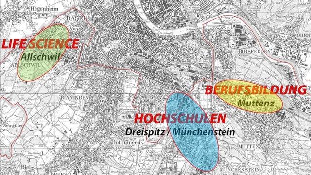 Karte mit Bildungsschwerpunkten Baselland