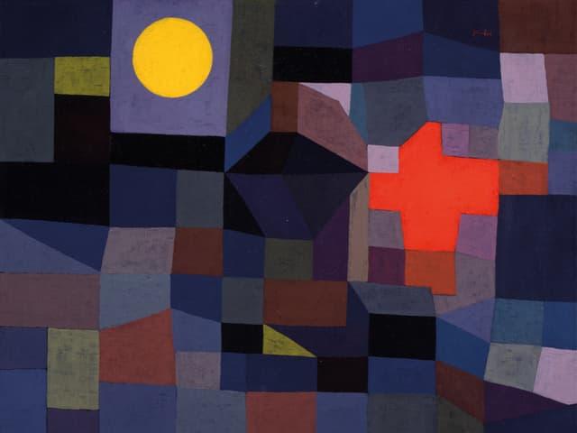 Bild von Paul Klee in dunklen Farben mit einer gelben und roten Fläche.