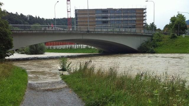 Sihl führt braunes Wasser, ein Fussweg am Ufer ist überschwemmt.