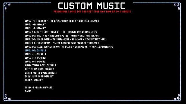 Custom Music - innerhalb des Games die eigene Musik wählen.