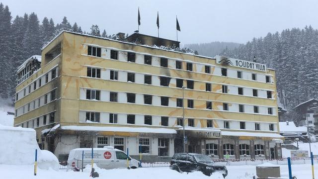 Il Posthotel ad Arosa suenter il grond incendi.