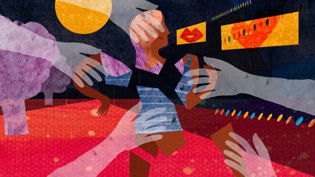 Illustration, auf der Hände nach der Silhouette eines Frauenkopfes greifen.