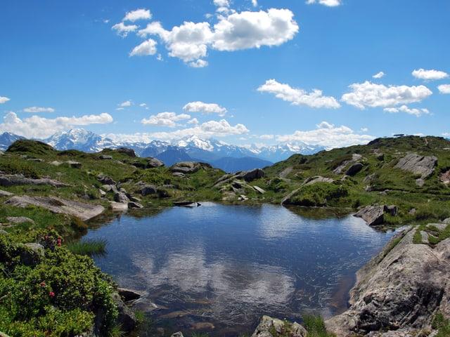 Klarer Bergsee umgeben von Wiesen und Felsen. Blauer Himmel mit wenigen Schönwetterwolken.