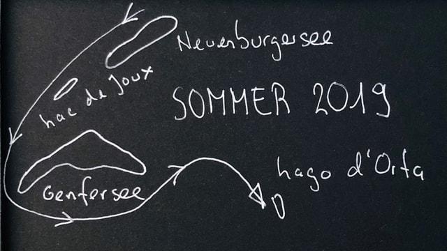 Zeichnung mit der Reiseroute vom Neuenburgersee, über den Lac de Joux, Genfersee an den Lago d'Orta