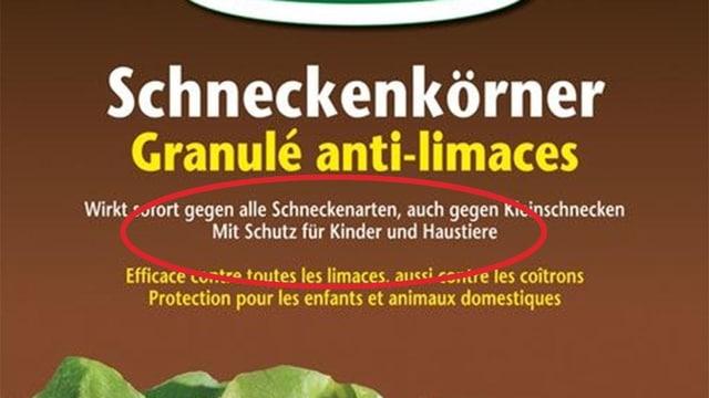 """Schneckenkörner-Verpackung mit Hinweis """"Mit Schutz für Kinder und Haustiere"""""""