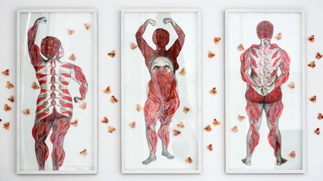 Drei Bilder zeigen nackte Körper von Frauen, die mit roter Farbe teilweise übermalt sind.
