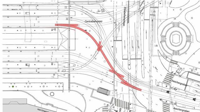 Plan mit roter Linie.