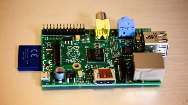 Die blanke Platine eines Raspberry Pi Computers.