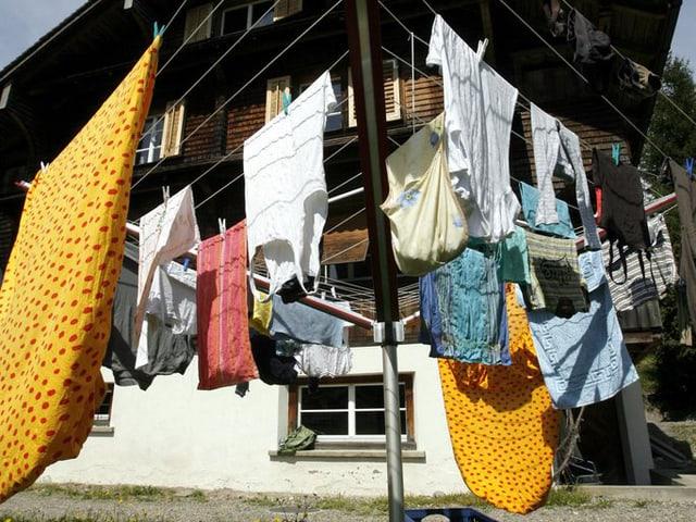 Aufgehängte Wäsche