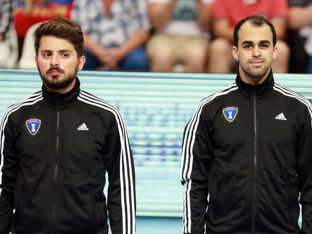 Arthur Brunner und Morad Salah in der Halle.