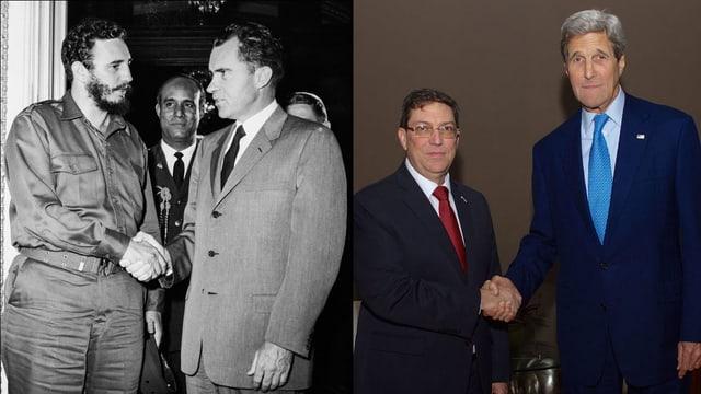 Castro und Nixon, daneben Rodríguez und Kerry mit Handshake.