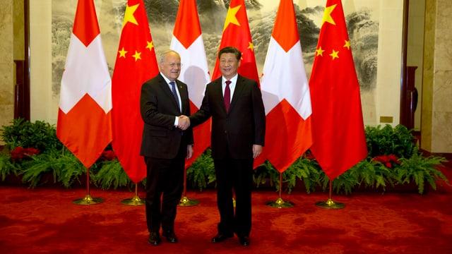 Schneider-Ammann und Xi geben sich die Hand, hinter ihnen mehrere Schweizer- und Chinafahnen.