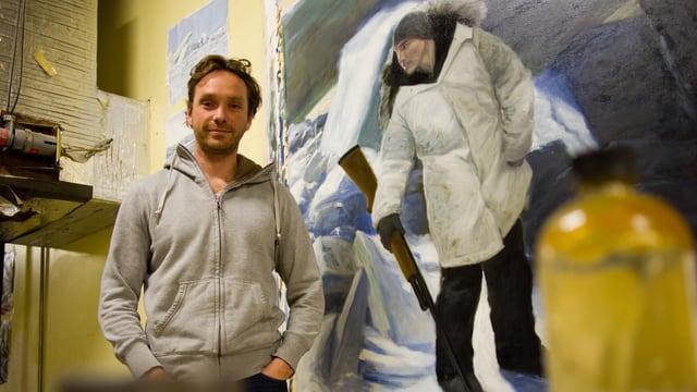 Der Maler David Pettibone vor einem seiner Gemälde.