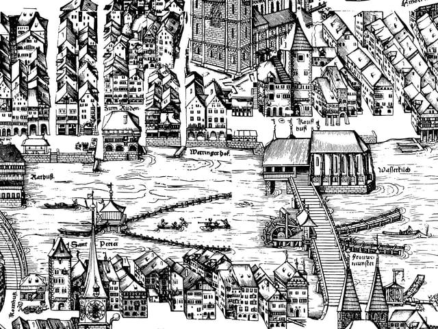 Ein historischer Stadtprospekt aus dem Jahr 1576.