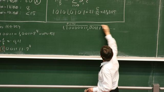 Ein Lehrer vor einer Wandtafel. Er scheint davor ziemlich klein.