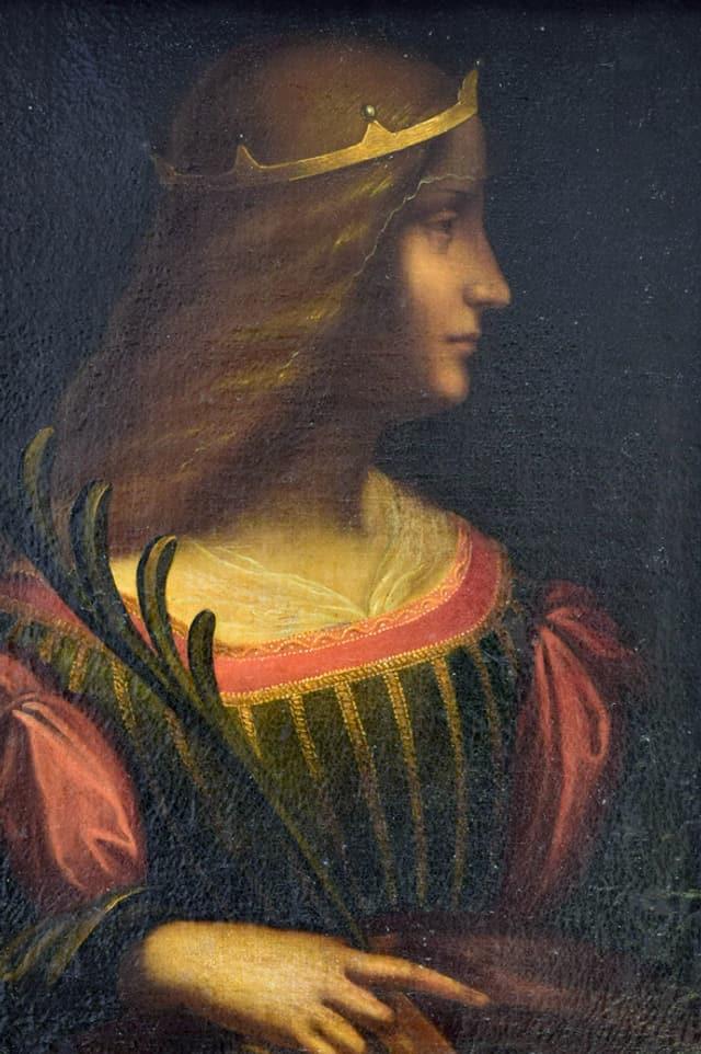 Frau im Profil, gemalt.