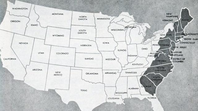 Ils Stadis Unids da l'America cun ils 13 stadis originars (colonias englaisas)