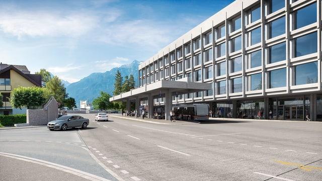 So soll der neue Kantonsbahnhof Altdorf (Blick Richtung Süden) aussehen.