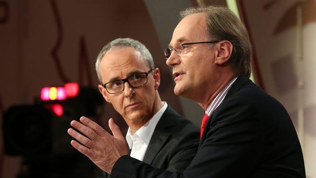 Benoît Genecand und Yves Nidegger bei einer TV-Debatte.