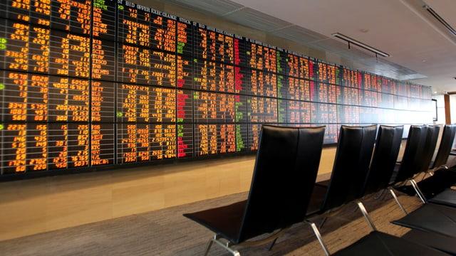 Eine Big-Data-Tafel an der Wand. Davor eine Reihe leerer Stühle.