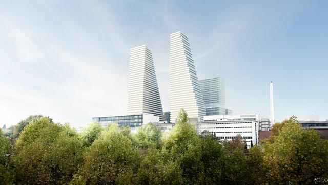 Modell des Roche-Hauptsitzes in basel mit dem bereits bestehenden Turm und daneben dem geplanten, der noch nicht gebaut worden ist.