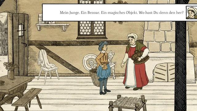 Bild aus einem Game: Eine alte Frau mit einem Korb unter dem Arm spricht mit einem jungen im Beinkleid.