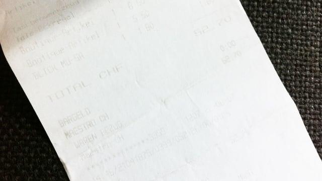 Thermopapier-Quittung mit verblasster Schrift