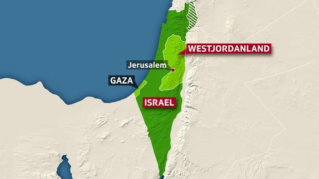 Karte von Israel und den Palästinensergebieten, Jeruslamen markiert