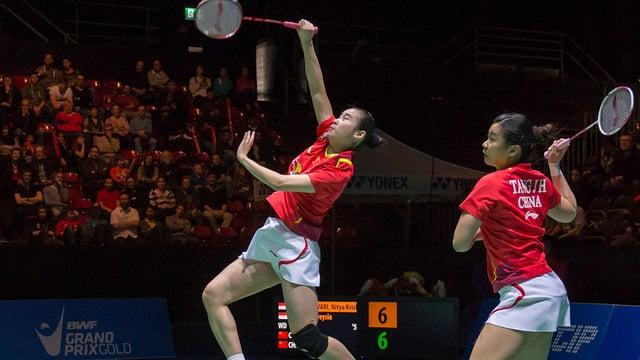 Chinesische Spielerinnen beim Doppel.