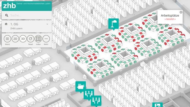 Screenshot eines Navigationssystems zum Auffinden von freien Arbeitsplätzen in der Universität Luzern.