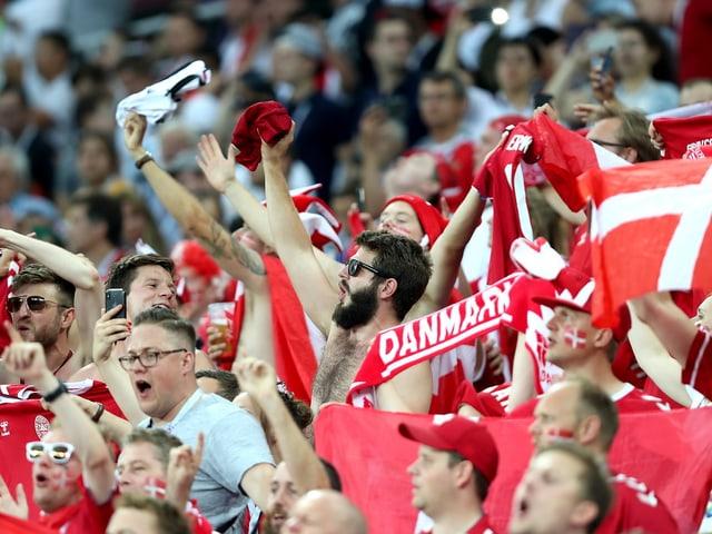 Dänische Fans jubeln ausgelassen auf der Tribüne.