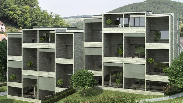 Das Modell einer Wohnsiedlung im Grünen