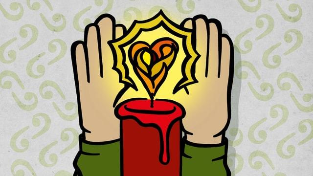 Zeichnung: Zwei Hände wärmen sich an einer Kerze, die in Herzform leuchtet.