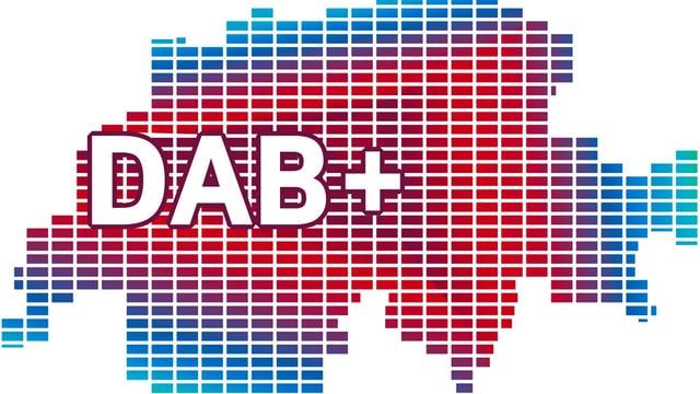 Grafik zur Umstellung auf DAB+. Umriss der Schweiz.