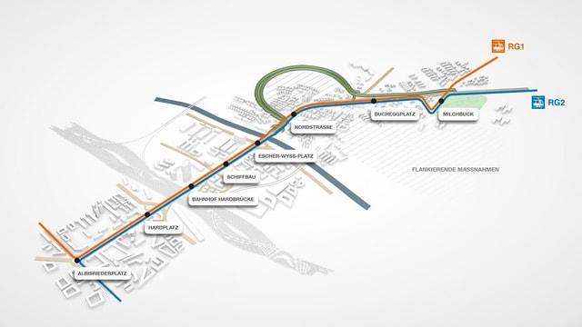 Streckenplan des neuen Rosnegartentunnels