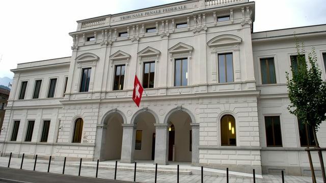 Bild grosses Gebäude mit Schweizer Fahne.