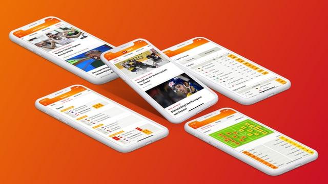 SRF Sport App auf verschiedenen Smartphones